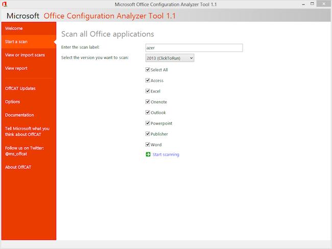 Ecran de sélection des logiciel Office avec OffCAT- dépannage informatique Paris