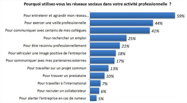 Statistitque sur l'utilisation d'un réseau social en entreprise - dépannage et formation informatique Paris 9 75009